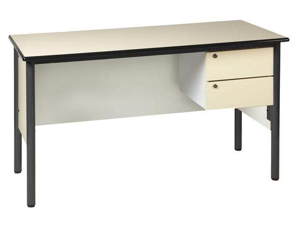 Chaire de professeur 1300 x 650 mm équipée d'un caisson 2 tiroirs avec serrures