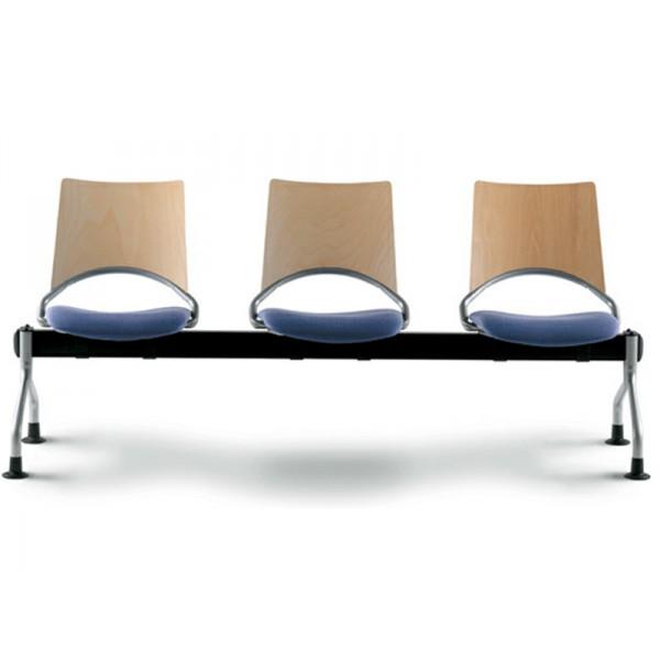 Poutre WAP 3 places (assise tapissée et dossier en hêtre multiplis)