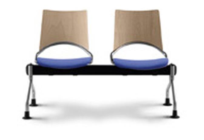 Poutre WAP 2 places (assise tapissée et dossier en hêtre multiplis)