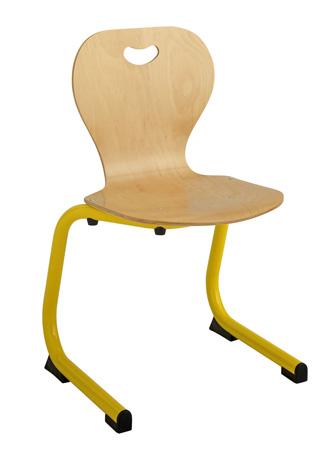 Chaise maternelle coque bois - appui sur table - piétement aluminium (taille 1 et 2)