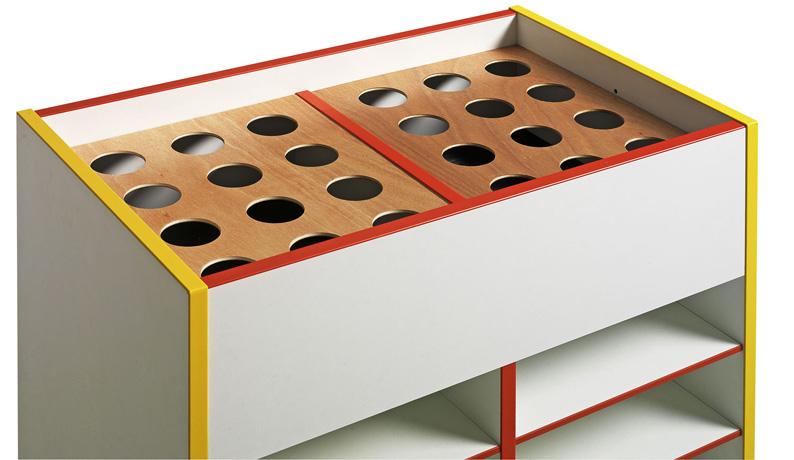 DPC - MATERNELLE Meuble bi-face haut avec couvercle amovible - piétement bois