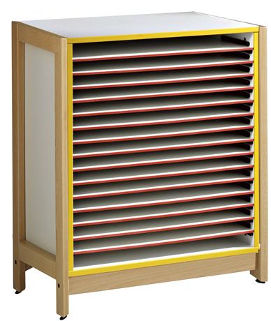 DPC - MATERNELLE Meuble à dessin 15 tablettes coulissantes format raisin - piétement bois