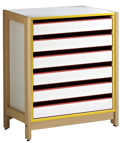 Meuble à dessin 6 tiroirs - piétement bois