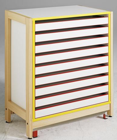 Meuble à dessin 9 tiroirs - piétement bois