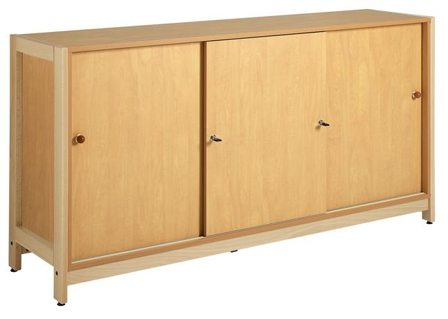 Meuble bas 3 portes coulissantes - piétement bois