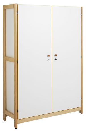 Armoire haute 2 portes battantes - piétement bois