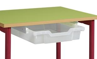Bac plastique et coulisses pour  table métal