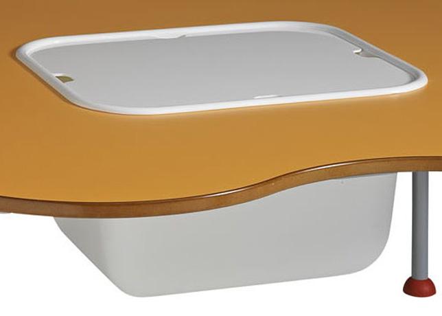 Bac et couvercle en plastique translucide pour table maternelle