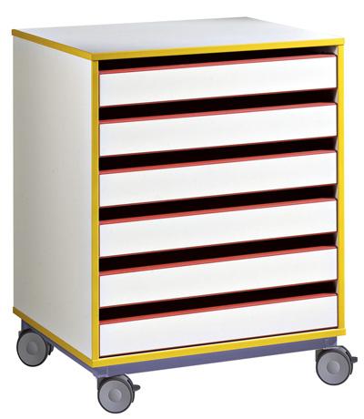 Dpc maternelle meuble dessins 6 tiroirs sur roulettes for Meuble a tiroirs sur roulettes