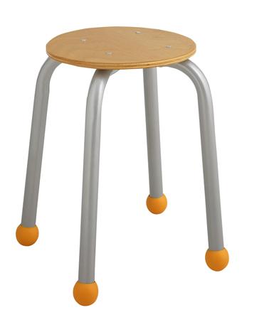 Tabouret maternelle assise ronde  avec embouts de couleur