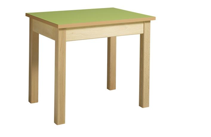 Table maternelle 4 pieds en hêtre massif avec bac à jouets