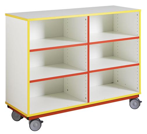 dpc maternelle meuble ouvert sur roulettes 1 s paration m diane 4 tablettes r glables. Black Bedroom Furniture Sets. Home Design Ideas