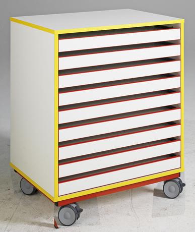 DPC - MATERNELLE Meuble à dessin 9 tiroirs sur roulettes