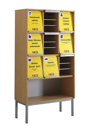 Présentoir à périodiques ONISEP - 9 cases sur socle avec niche