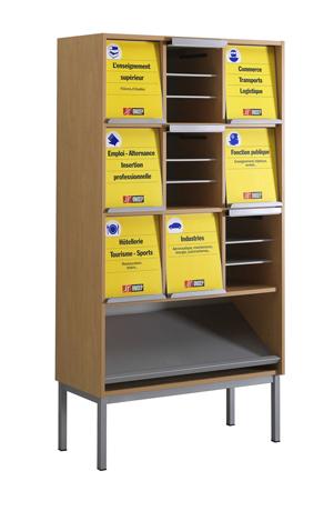 DPC - SCOLAIRE & SALLE DE COURS Présentoir à périodiques ONISEP - 9 cases sur socle avec tablette inclinée