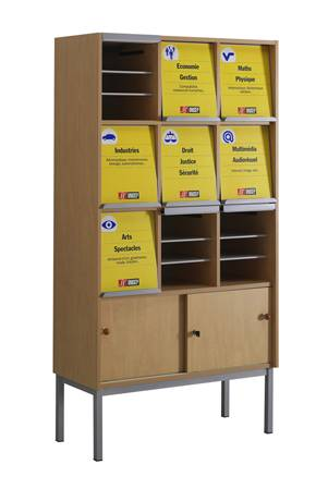 Présentoir à périodiques ONISEP - 9 cases sur socle avec armoirette 2 portes coulissantes fermant à clé