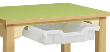 Bac plastique et coulisses pour table en bois