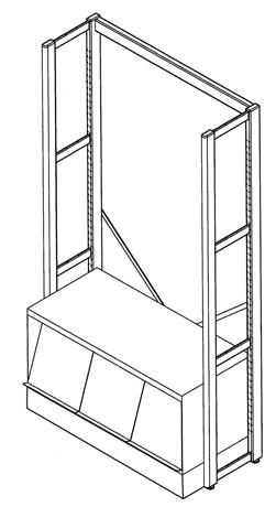 Présentoir bas  métallique LAÏS à périodiques équipé de 3 volets escamotables