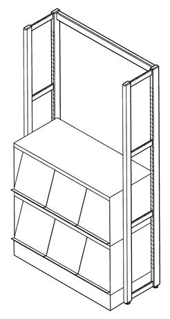 Présentoir à périodiques métallique superposable LAÏS équipé de 3 volets escamotables