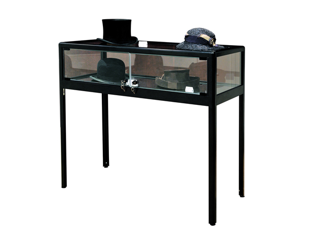 Table vitrine - structure en aluminium coloris noir