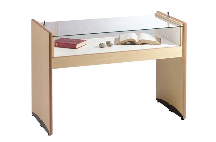 Table vitrine piètement en panneau mélaminé sur base médium