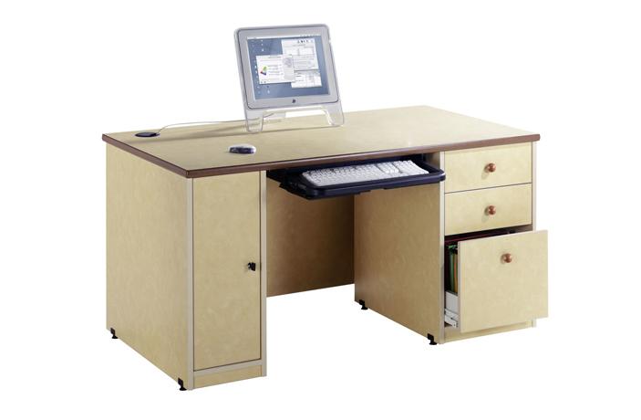 Bureau professeur BAHIA 1600 x 800 mm avec caisson d' Unité Centrale et caisson 3 tiroirs