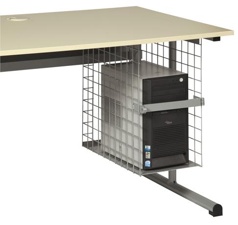 Support d'Unité Centrale grille avec porte cadenas pour table informatique (largeur 26cm)