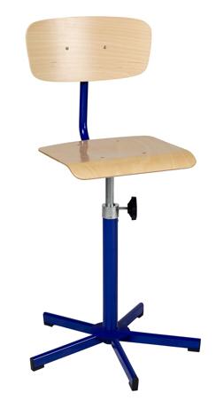 Chaise de laboratoire réglable par vis en hauteur de 520 mm à 700 mm sans repose-pieds sur patins
