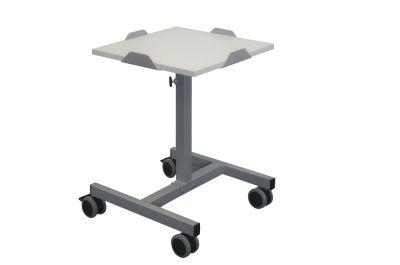 Table télescopique réglable de 62 à 100 cm avec plateau mélaminé chants ABS Gris 420 x 420 mm