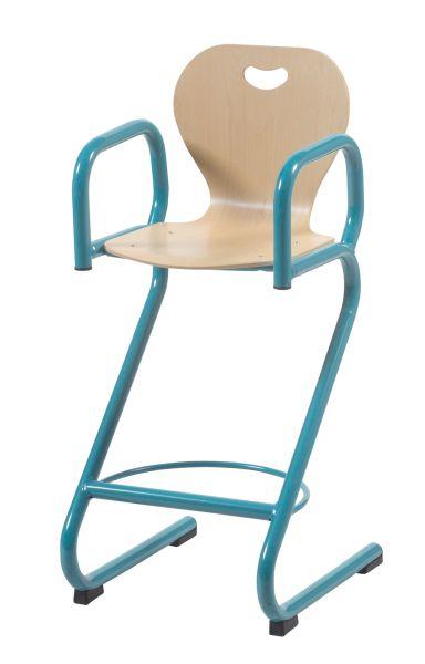 Chaise haute BREHAT appui sur table,  coque en hêtre, avec accoudoirs.
