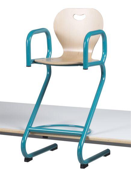 DPC - SCOLAIRE & SALLE DE COURS Chaise haute BREHAT appui sur table,  coque en hêtre, avec accoudoirs. Photo