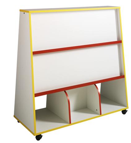 Présentoir à livres 2 faces avec rangement bas, LHP : 120 x 122,5 x 51 cm - profil hêtre naturel