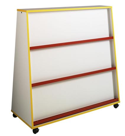 Présentoir à livres 1 face et rangement 1 face, LHP : 120 x 122,5 x 51 cm - profil hêtre naturel