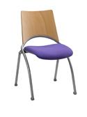 Chaise WAP - assise en tissu et dossier en hêtre multiplis - piétement métallique