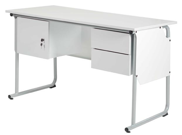 DPC - Chaire de professeur éco-conçue EPSY 1300 x 650 mm - équipée d'un caisson une porte et d'un caisson 2 tiroirs - piétement tube coloris gris 137
