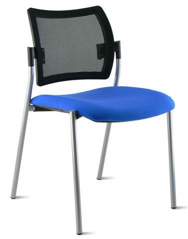 Chaise AMETS assise tapissée et dossier résille noir.