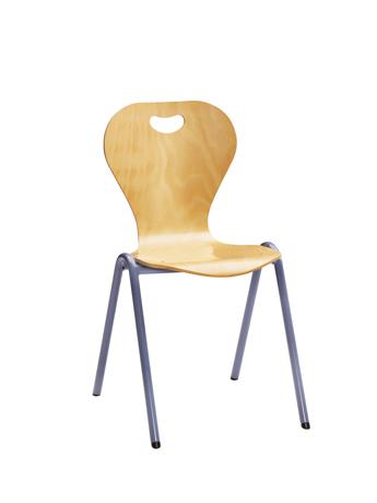 Chaise coque bois DALLAS 4 pieds arceau non accrochable