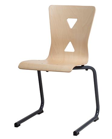 Chaise appui sur table pied luge XICO acier (coque bois)