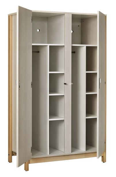 Armoire 2 portes NYXOS (1/2 penderie et 1/2 lingère par porte) - structure en hêtre massif