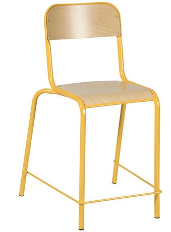 Lot de 4 Chaises hautes VLORE - assise et dossier en hêtre multiplis vernis