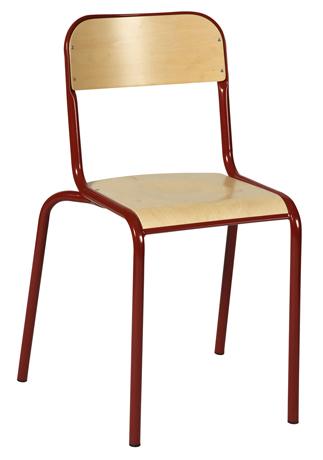 Chaise 4 pieds VLORE - assise et dossier encastrés en hêtre multiplis vernis