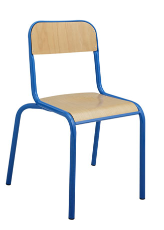 DPC - SCOLAIRE & SALLE DE COURS Chaise 4 pieds VLORE - assise et dossier encastrés en hêtre multiplis vernis Photo 3