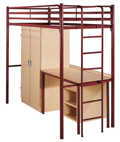 Lit surélevé PYLOS équipé d'une armoire et d'un bureau