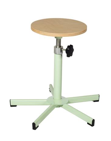 Tabouret assise ronde réglable par vis en hauteur de 420 à 600 mm sur patins