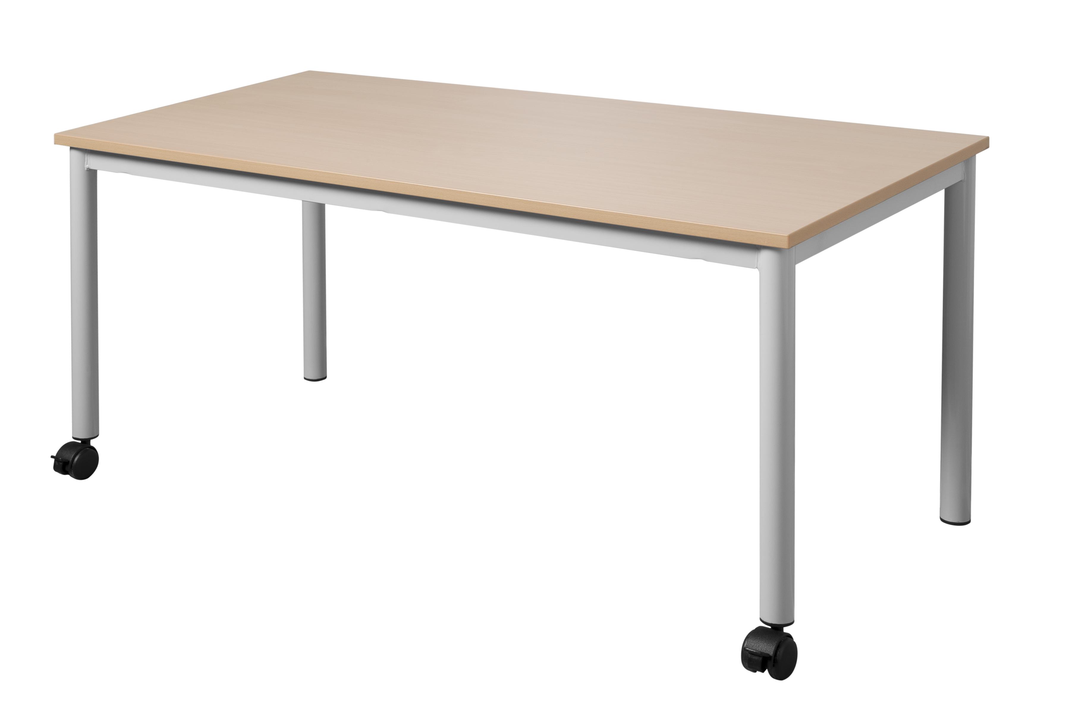 Table maternelle fixe 4 pieds tube diamètre 40mm sur roulettes.