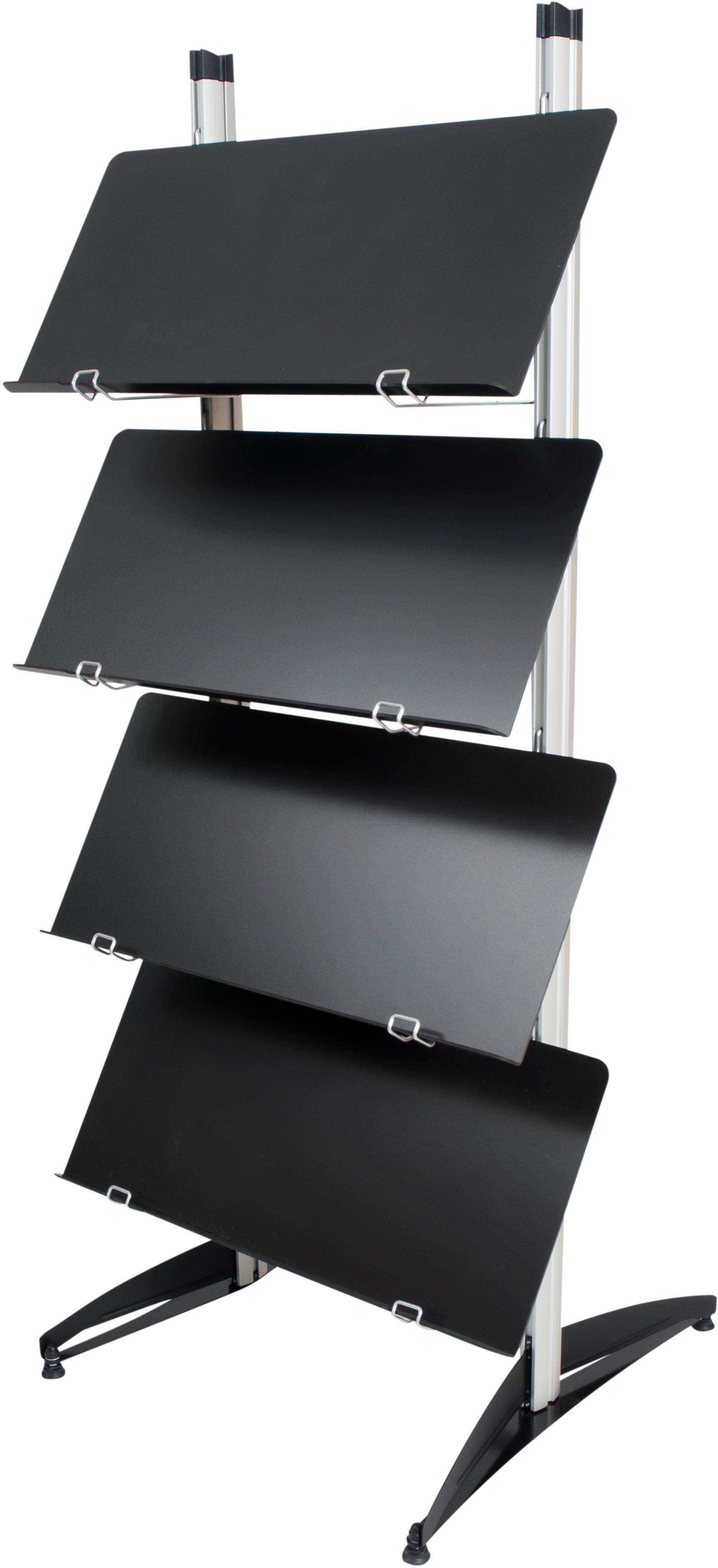 Présentoir NEKHAR - tablettes noires en PVC expansé.