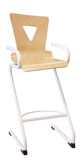 Chaise haute OXIAL, coque bois, piétement en acier finition epoxy.
