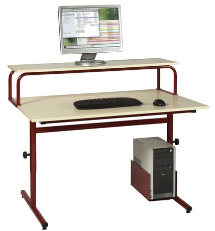 Table informatique LOLA réglable - chants ABS