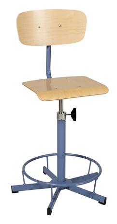Chaise de laboratoire réglable par vis en hauteur de 520 mm à 700 mm  avec repose pieds sur patins