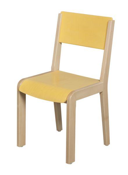 DPC - MATERNELLE Chaise bois 4 pieds - assise et dossier teintés PHOTO 3